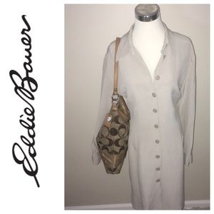 100% Silk Eddie Bauer Button Down Shirt Dress
